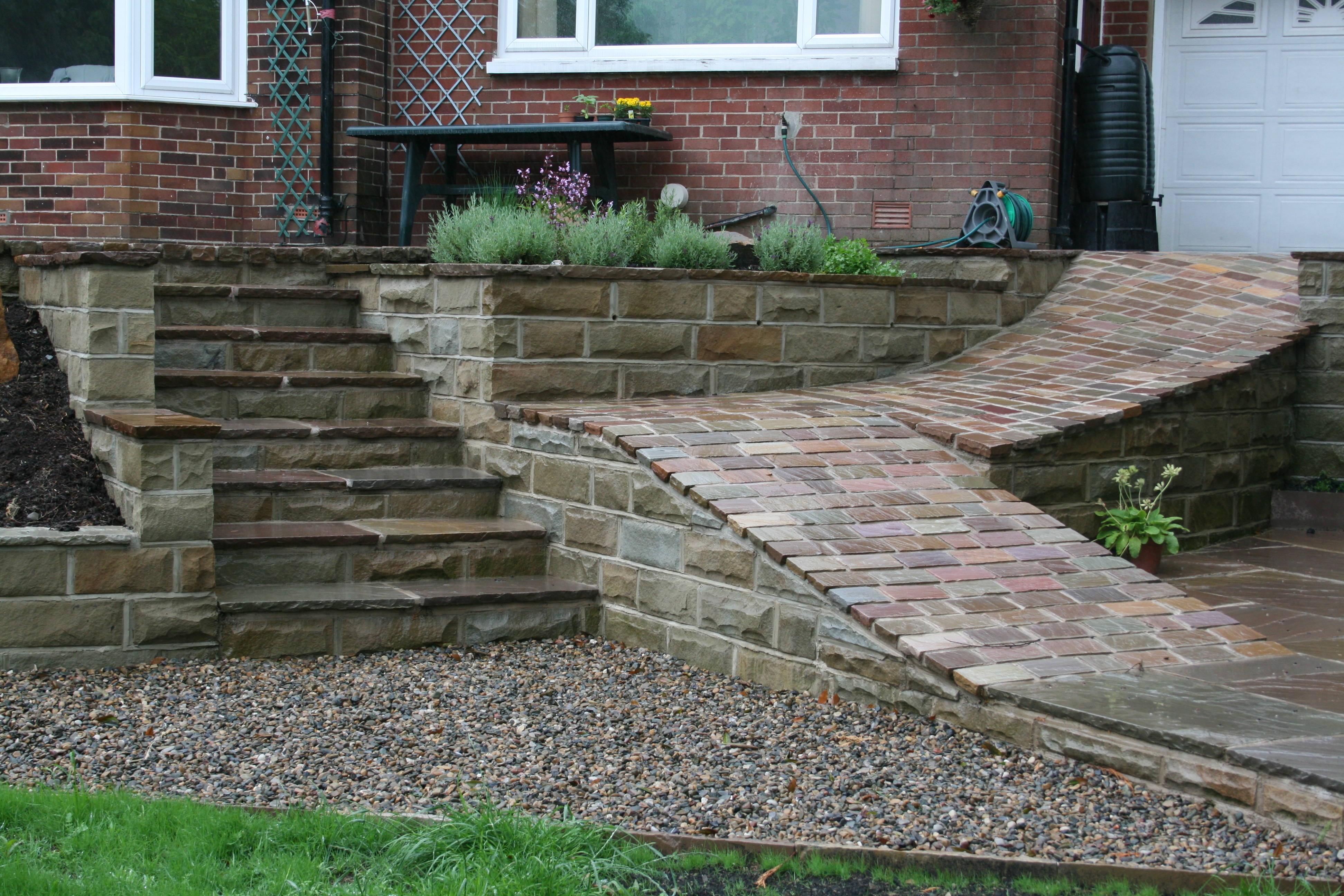 York stone retaining wall installed by Country Landscapes Ltd